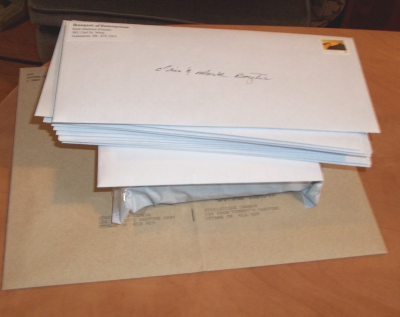 my pile of mail waiting until the weather is warmer