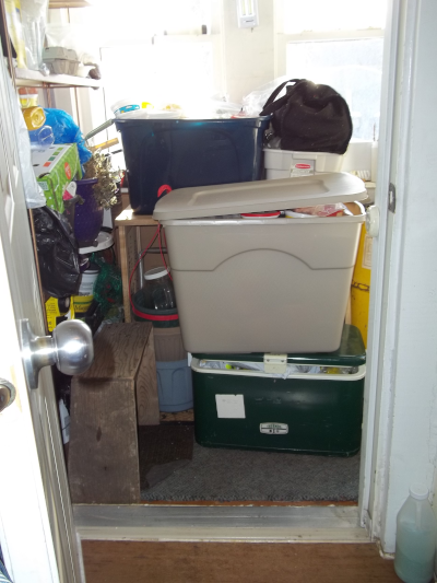 freezer stuff stashed in the back porch